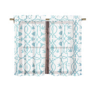 Bathroom and More Collection 2 Piece SHEER Window Curtain Tier Set White with Blue Bird, Flower & Vine Design Size 24in L Each (Pair (2) Tiers 24in L Each) (Pair (2) Tiers 24in L Each)
