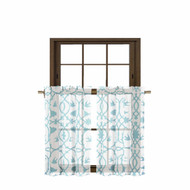 Bathroom and More Collection 2 Piece SHEER Window Curtain Tier Set White with Blue Bird, Flower & Vine Design (Pair (2) Tiers 36in L Each)