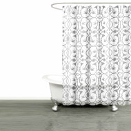 "Bathroom and More Collection White SHEER Fabric Shower Curtain:: Gray Bird, Flower & Vine Design (Shower Curtain 72"" L)"
