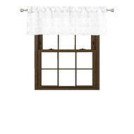 "Bathroom and More Collection Pure White Window Curtain Valance Textured Moroccan Trellis Tile Design (Single (1) Valance: 54"" W x 15"" L)"