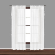"Bathroom and More Collection Set of Two (2) SHEER Window Curtain Panels: White 3-D Small Soft Tufts Design. 84in Long Each (Panel Pair (2) 84"" L)"