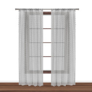 "Bathroom and More Collection Set of Two (2) SHEER Window Curtain Panels: Silver/Light Gray 3-D Small Soft Tufts Design. 84in Long Each. (Panel Pair (2) 84"" L)"