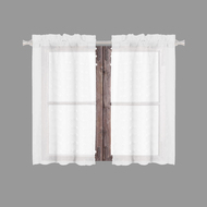 Bathroom and More Collection SHEER 2 Piece White Window Curtain Café/Tier Set: 3-D Small Soft Tufts Design, 24in Long Each (Pair (2) Tiers 24in L Each)