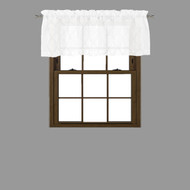 Bathroom and More Collection Sheer White Window Curtain Valance with Embroidered Metallic Silver Moroccan Trellis Design (Single (1) Valance 56in W x 15in L)