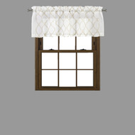 Bathroom and More Collection Sheer White Window Curtain Valance: Embroidered Moroccan Trellis Design with Taupe and Metallic Silver Thread (Single (1) Valance 56in W x 15in L)