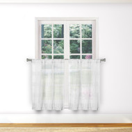 Bathroom and More Collection SHEER Pure White 2 Piece Window Curtain Café/Tier Set Stripe Design (Pair (2) Tiers 36in L Each)