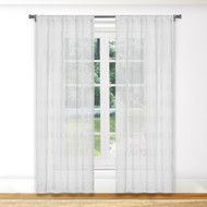 "Bathroom and More Collection Pure White SHEER Window Curtain Panel Pair Stripe Design (Panel Pair (2) 84"" L)"