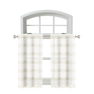 Bathroom and More Collection 2 Piece SHEER Window Curtain Café/Tier Set: White and Linen/Beige Stripe Design (Pair (2) Tiers 36in L Each)