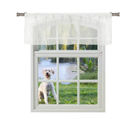 Bathroom and More Collection Off White SHEER 2 Piece Window Curtain Café/Tier Set: Embroidered Diamond Trellis Design with Off White and Metallic Silver Thread (Single (1) Valance 56in W x 15in L)