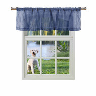 Bathroom and More ADLEY Collection Navy Blue SHEER Window Curtain Valance: Embroidered Diamond Trellis Design with Navy Blue and Metallic Silver Thread (Single (1) Valance 56in W x 15in L)