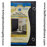 Black vinyl shower curtain liner