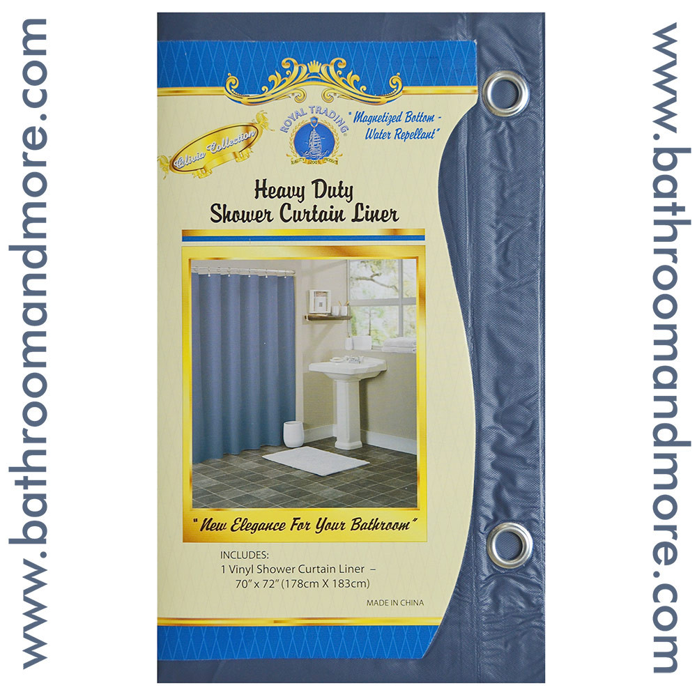 Slate Blue Vinyl Shower Curtain Liner With Metal Grommets Magnets Bathroom And More