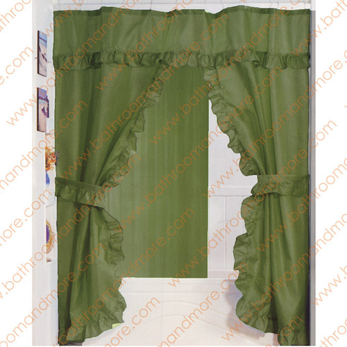 by Colors Greens Sage Green Fabric Ruffled Double Swag Shower Curtain ...