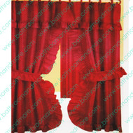 Red ruffled fabric shower curtain.