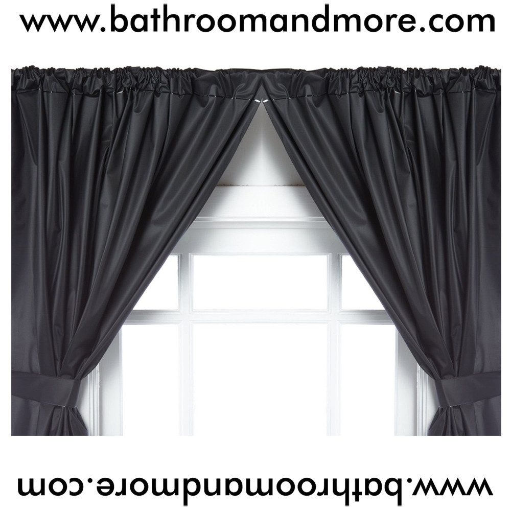 Black 5 Gauge Vinyl Double Swag Bathroom Window Curtains