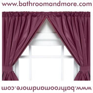 Burgundy vinyl two panel window curtain.