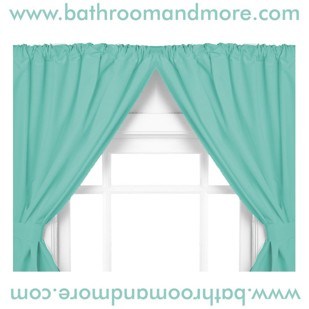Jade 5 Gauge Vinyl Double Swag Bathroom Window Curtains
