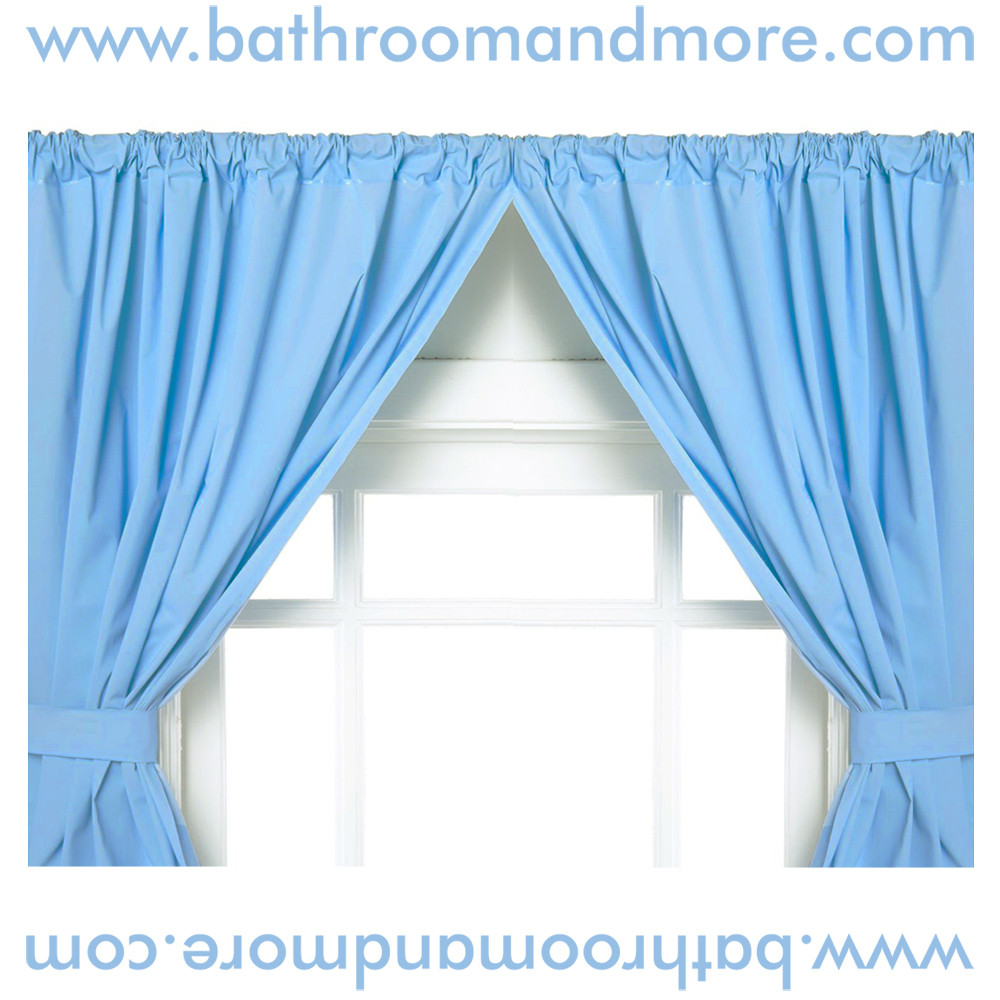 Light Blue 5 Gauge Vinyl Double Swag Bathroom Window Curtains