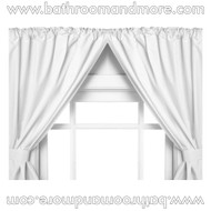 White vinyl double swag two panel window curtain.