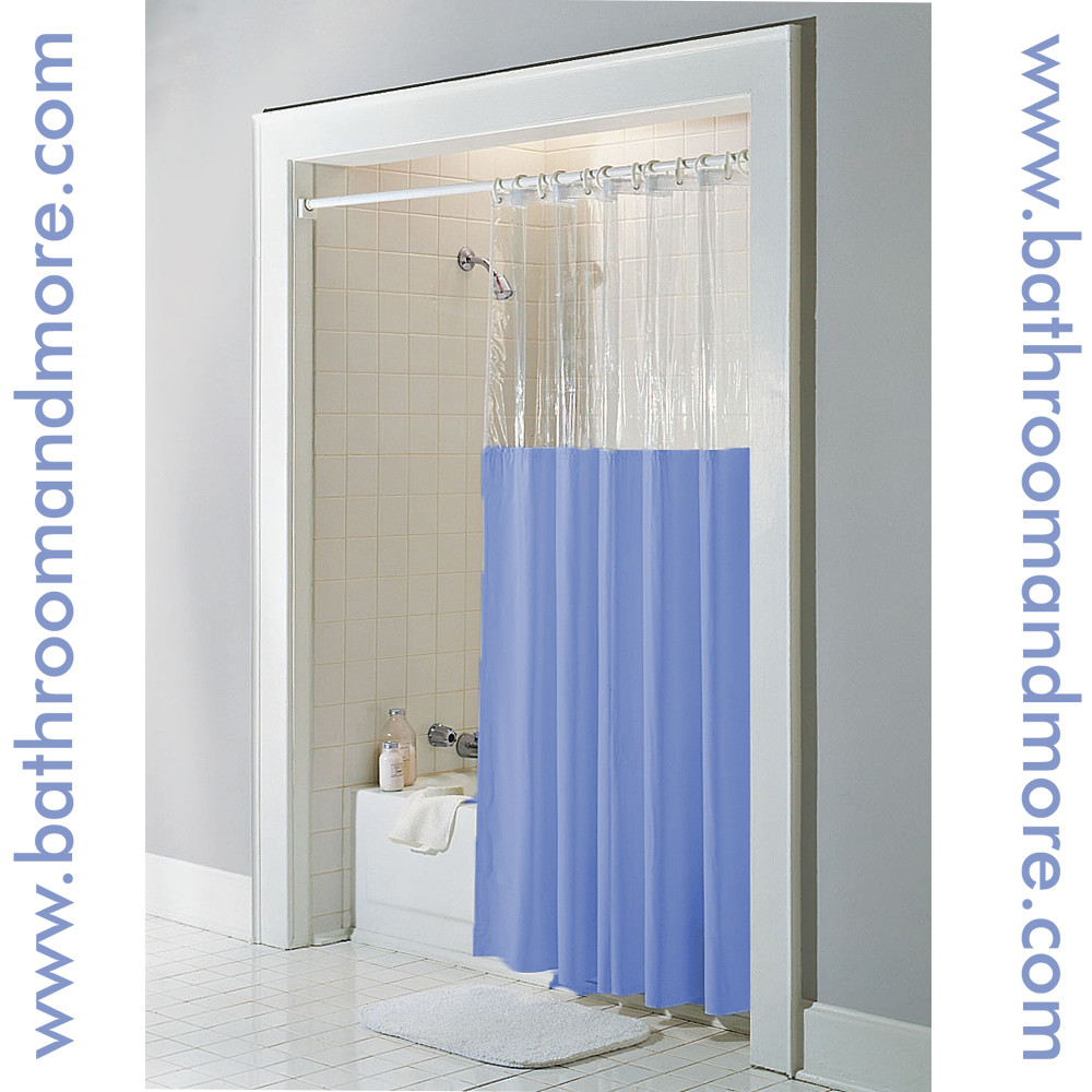 Clear Top Window Vinyl Shower Curtain In Blue