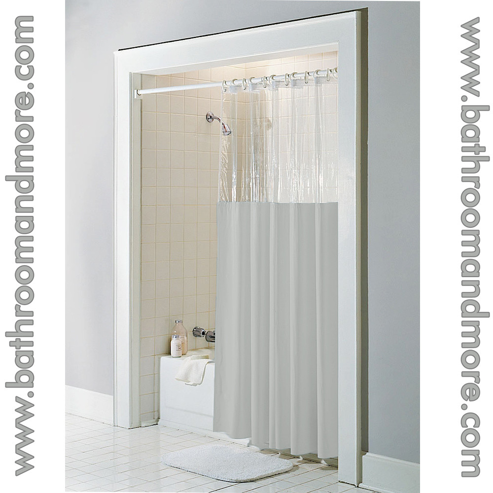 Taupe Vinyl Windowed Shower Curtain Liner Clear Top