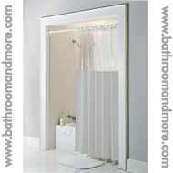 Taupe window clear top vinyl shower curtain.