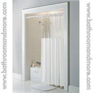 Ivory window vinyl shower curtain clear top.