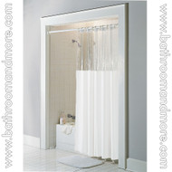 White window top vinyl shower curtain.
