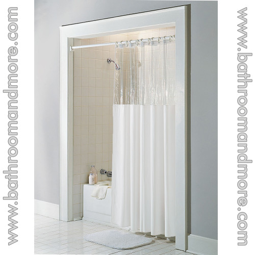 Ivory clear top window vinyl shower curtain.