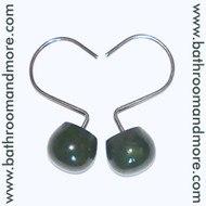 Hunter Green Ceramic and Metal Shower Curtain Hooks