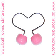 Pink Ceramic and Metal Shower Curtain Hooks