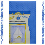Blue fabric shower curtain.
