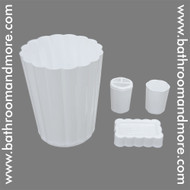White Plastic Four Piece Bathroom Set; Trash Can, Toothbrush Holder, Rinse Cup, Soap Dish