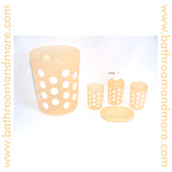 Polka Dot Peach Plastic Four Piece Bathroom Set; Trash Can, Toothbrush Holder, Rinse Cup, Soap Dish