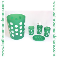 Polka Dot  Green Plastic Four Piece Bathroom Set; Trash Can, Toothbrush Holder, Rinse Cup, Soap Dish
