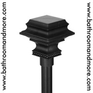 Black Pedestal Finials Adjustable Curtain Rod With Hardware- Accessories Sold Separately