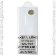"White Heavy Duty 5 Gauge Vinyl Shower Curtain Liner 72""x84"""