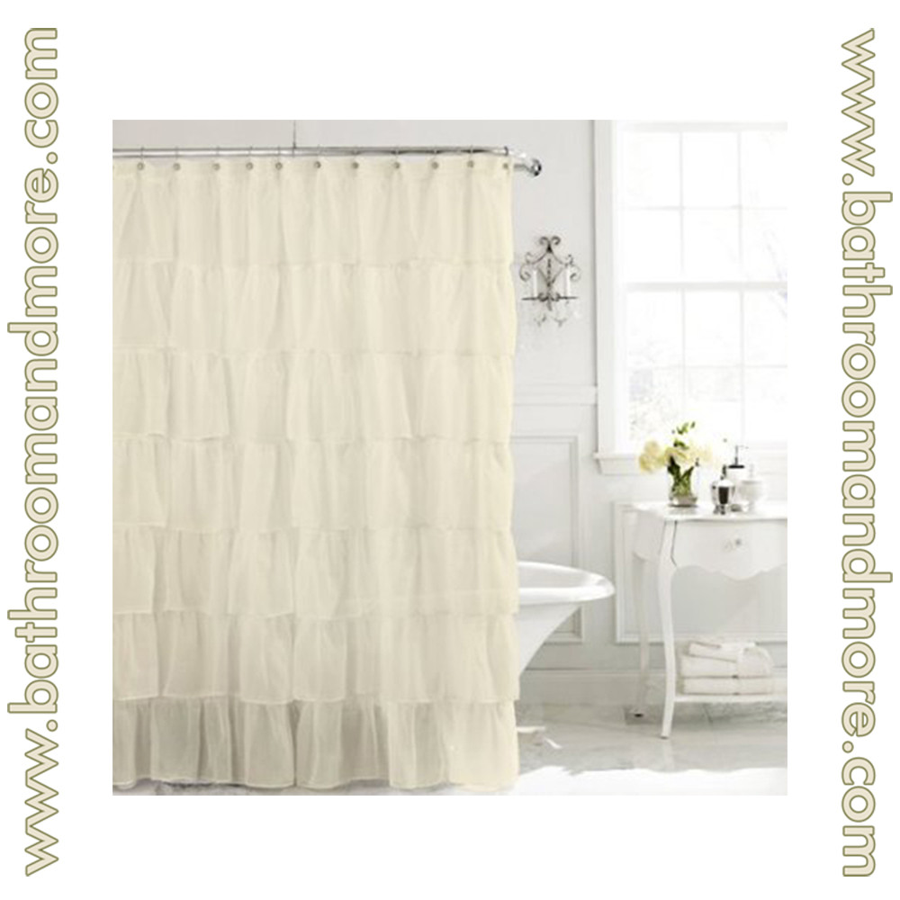 Carmen Ivory Cream Voile Ruffled Gypsy Fabric Shower Curtain 70 X72 Quot