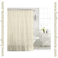 "Carmen Ivory Cream Voile Ruffled Gypsy Fabric Shower Curtain 70""x72"""