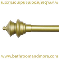 Gold Ribbed End Finials Adjustable Curtain Rod With Hardware- Curtain Rings Sold Separately