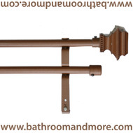 Brown Double Adjustable Metal Curtain Rod with Pedestal Finials- 3 Sizes Items Sold Seperately