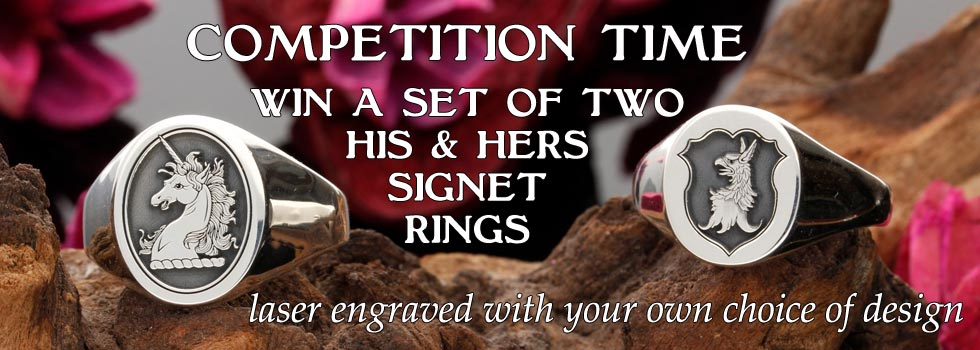 Competition Win His and Hers Custom Engraved Signet Rings Personalised