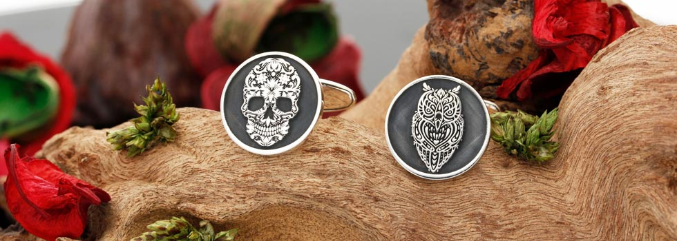 Silver Cufflinks Bespoke Custom Engraved Designs Sugar Skull Owl