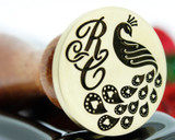 Wax Seal Love Peacock with Monogram Initials, Laser Engraved
