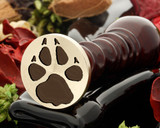 Wolf paw wax seal reversed for engraving