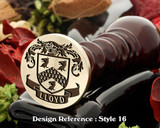 Lloyd family crest wax seal, reversed for engraving