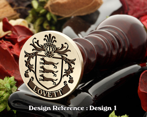 Lovett 2 (Irish) Family Crest Wax Seal D1