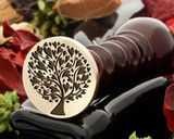 Minimum size 25mm due to the thinness of the branches.  To add text to the full edge of the stamp, please upgrade to 30mm size seal.