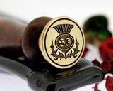 Example - Customer's own design, engraved onto stamp from wax seal gift set. Photo reversed for viewing.  25mm size shown.  Wax Stamp additional purchase to the gift box, both items will be combined for despatch.