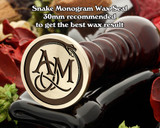 Snake Monogram Wax Seal including Initials example AM